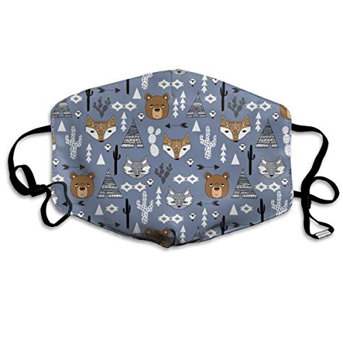 Southwest Aztec Tribal Southwest Baby Nursery Bear Fox Raccoon Kids Cactus Tri Tipi Teepee Anti Dust Mask Anti Pollution Washable Reusable Mouth ()