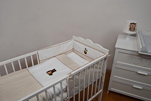Velinda 6-tlg. Baby-Bettwäsche-Set mit Stickerei Bettzeug Bettbezug für Babybett 120x60 (Muster: Honig) (Bettbezug Honig)