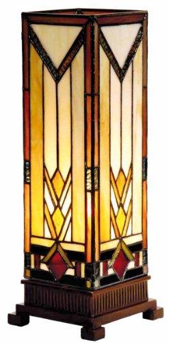 Lumilamp 5LL-9331 Säulenlampe Beistellleuchte Lampe im Tiffany-Stil 12.5 * 35 cm 1x E14 max 40w dekoratives buntglas Tiffany Stil - Tiffany-art-glas-tisch-lampe