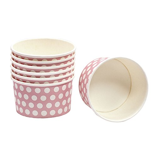 60 Frau Wundervoll Pappschalen rosa mit weißen Punkten (Ø 8-9 cm, H = 5,5 cm) / Eisbecher / Eisschale / Einwegschalen aus Pappe