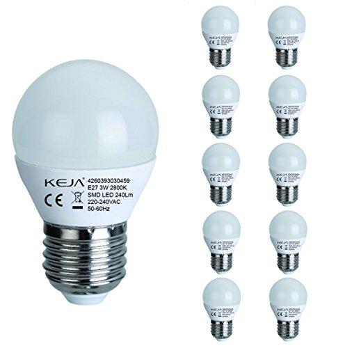 LED FACTORY 3W E27 LED, 30W Ampoule Halogène Équivalent, 240lm, Blanc Chaud, 2800K, 270° Larges Faisceaux, Pack de 10 Unités Ampoules