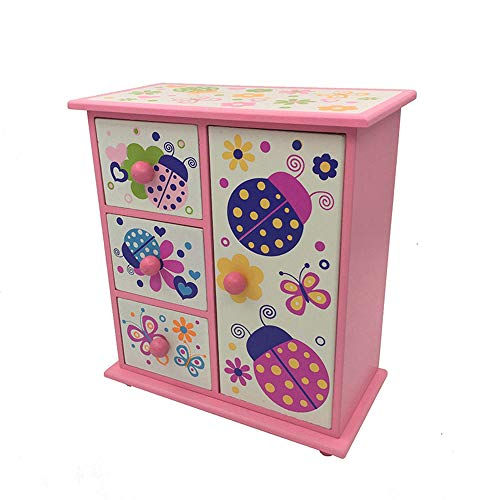DEQIAODE Kinder Schmuckschatulle, Cartoon Cartoon-Muster Einsparungen Schmuckbox,Pink -