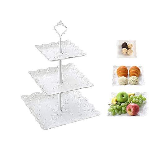 AimdonR Party 3 Tier Trays Towers, Dessert Gebäck Kunststoffständer, Früchte Cupcake Plate für Party, Hochzeit 3 Tier Servierplatte Tee Stand (3 Stand Tier Tee)