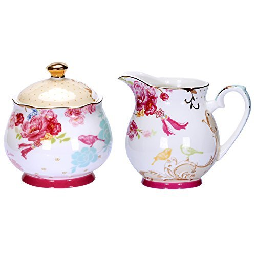 awhome bemalt Classic Porzellan Zucker und Creamer Set für Kaffee und Tee & # xff08; ab009& # xff09; Porcelain Creamer