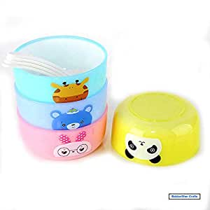 BabbarSher Crafts Food Grade Plastic Non Toxic, Eco Friendly and Stack-able Serve Bowl with Spoon Snack Bowls (Colour May Vary) Set of 4 Food Plate