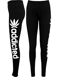 Womens Ladies Addicted Print Fleece Full Length Tracksuit Jogging Trousers Bottoms Pants
