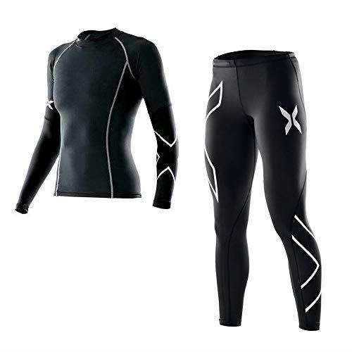sakj-c Frauen Yoga Set Langarm T-Shirt + Yoga Hosen Jog Leggings Set Gym Laufen Workout Strumpfhosen Anzug Kleidung Für Frau, L Hose Jog Set