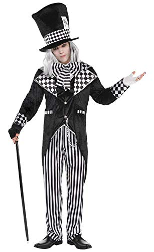 Mens Dark White Black Mad Hatter Halloween Carnival World Book Day TV Book Film Fancy Dress Costume Outfit (XL)