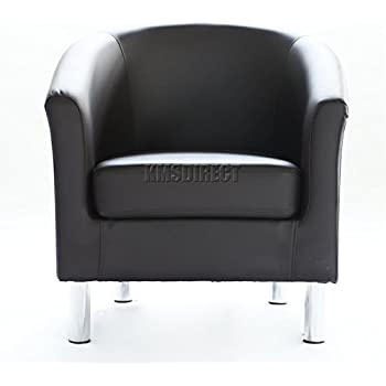 1home Bonded Leather Tub Chair Armchair For Dining Living