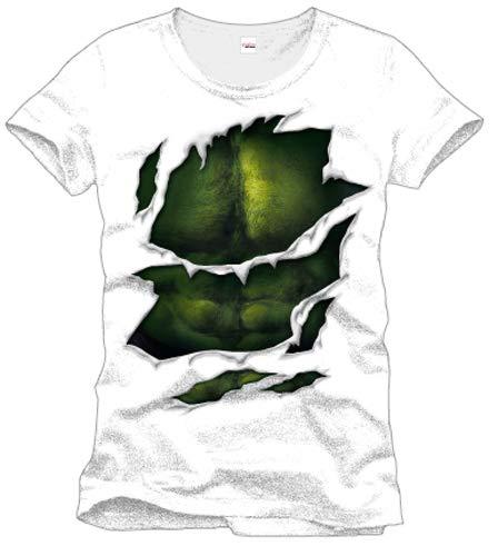 Desconocido Hulk - Marvel Camiseta con Motivo del Juego - Camiseta con los músculos de superhéroes Los Vengadores Petto- Gargantilla - Algodón - Blanco
