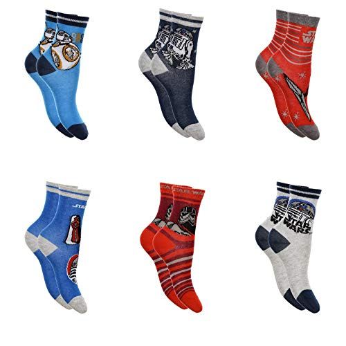 6 Paar Star Wars Jungen Socken Kinder Strümpfe 23-26