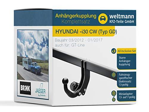 Weltmann AHK Komplettset geeignet für Hyundai i30 CW Typ GD Brink Starre Anhängerkupplung + fahrzeugspezifischer Jaeger Automotive Elektrosatz 13-polig
