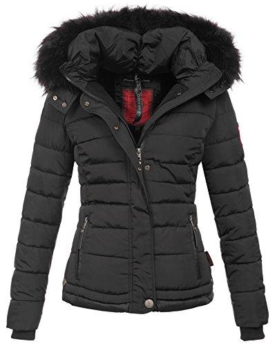 Navahoo warme Damen Winter Jacke Parka Mantel Stepp Kurzjacke gefüttert B301 [B301-Schwarz-Gr.XS] Fell Weste Jacke Mantel