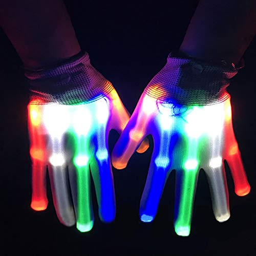 Allbesta LED Leuchtende Handschuhe Bunte Licht Beleuchtung für Party Tanzen Halloween Weihnacht Karneval Geburtstag Coole Spielzeuge ()