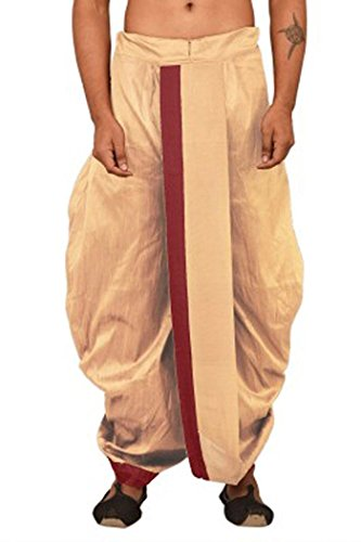 Royal Kurta Mens Silk Blend Indian Designer Dhoti (Gold)