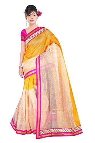 Aadimam Creation Women's Yellow Supernet Saree (1039_Yellow)