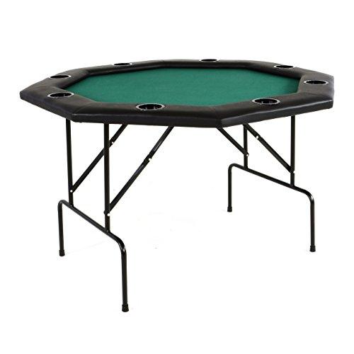Nexos Profi Casino Pokertisch klappbar 8-eckig 120 x 120 cm Höhe 76 cm, Getränkehalter Armauflagen Pokerauflage Tischauflage Klapptisch