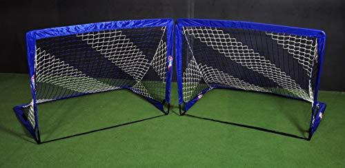 POWERSHOT Fußballtor Pop up - 2 Größen zur Auswahl - 2er Set - faltbares Garten Fußballtor für Kinder in Blau/WEIß (120 x 90cm)