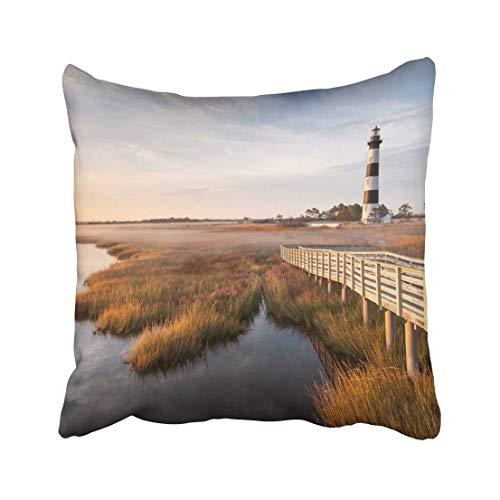 Emvency Coast North Carolina Außenbank, Bodie Island Leuchtturm Herbst Morgen Marsch Boardwalk Hatteras Haus Überwurf Kissenbezug 50,8 x 50,8 cm Dekorativer Kissenbezug Kissenbezug zweiseitig -