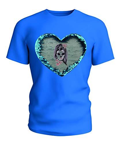 T-Shirt Wende Pailletten Maske- Karneval- Horror- KOSTÜM- Frau- MÄDCHEN- Knochen- SCHÄDEL- Halloween- Hexe in Blau | 104-5XL (Frau Halloween-kostüme Hexe)