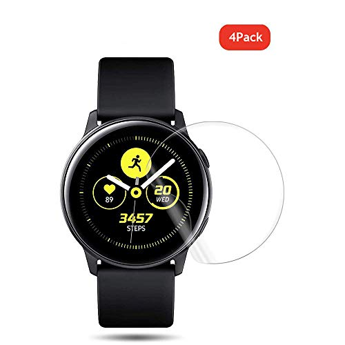 QULLOO Pellicola Protettiva per Samsung Galaxy Watch Active 2 44mm, [4 Pezzi] HD Clear TPU Film [Anti-Graffio] Copertura Completa Screen Protector per Samsung Galaxy Watch Active 2 (44mm)