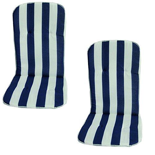 Beo Respaldo acolchados MS08Palma MN monoblockauflage para baja Sillas apilables, aprox. 40x 72cm, grosor de 2cm, 2unidades), color azul/weiβ