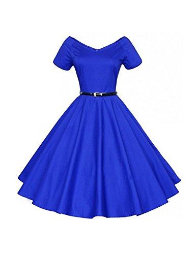 Legou Damen Retro Elegante Rockabilly Schwingen Kleider V-Ausschnitt Abendkleid Mit Gürtel Blau