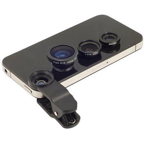 mondpalast Kit de Lentes Ojo de Pez de 180 Grados + Gran Angular + Lente Micro para Samsung Galaxy S5 S4 S3 Note 2 3 LG G2 G3 HTC one m7 m8 Sony xperia z z1 z2 compact iPhone 4 4S 4G 5 5S 5C 6 ipad samsung galaxy tab 2 3 4 7.0 8.0