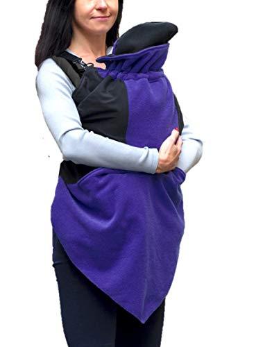 manduca by MaM Exclusive Vogue Flex Cover > Dark Iris < Stylisches Wintercover dreieckig zulaufend, Seitliche Eingrifftaschen zum Baby, dreilagig, Boucle Fleece, Abnehmbare Babymütze, lila/schwarz