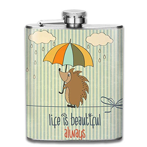 06e2afd7aa9f Liquor Can Perfect Hedgehog with Umbrella Stainless Steel Hip Flask 7 OZ -  Sneak Alcohol Anywhere for Man,Woman