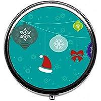 LinJxLee Christmas Hanging Gift Round Pill Case Pill Box Tablet Vitamin Organizer Easy to Carry preisvergleich bei billige-tabletten.eu