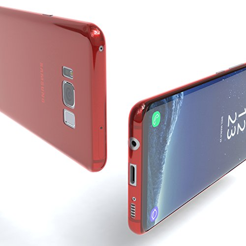 "EAZY CASE Handyhülle für Samsung Galaxy S8 Plus Hülle - Premium Handy Schutzhülle Slimcover ""Brushed"" Aluminium Design - TPU Silikon Backcover in brushed Lila Red - Clear"