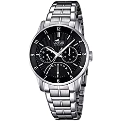 Lotus Men's Quartz Watch with Black Dial Analogue Display and Silver Stainless Steel Bracelet 18215/4