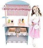 Dodo Toys Big Snack Legno E Teatro | 2 in1 | Tendone Reversibile | 12 Acessories con la Lavagna | Play Set e cucine