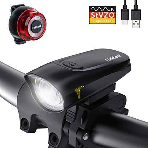 Linkbest Fahrradbeleuchtung Set Stvzo zugelassen USB wiederaufladbare Fahrradlicht, 50 Lux OSRAM LED,wasserdicht IPX-5, verstellbare Halterung Fit für alle Fahrräder