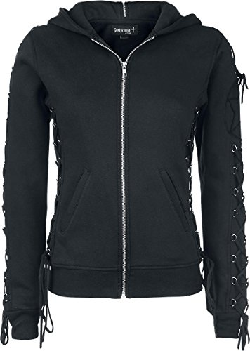 Gothicana by EMP Lace up Hoodie Felpa jogging donna nero XL