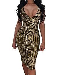 86ee626c31c4 Donne Senza Schienale Vestito a Tubino Sexy Scollo V Pin Up Vestiti da  Discoteca Club Moda Paillettes Midi Abito da Festa…