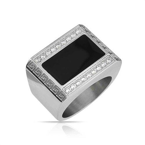 Bling Jewelry Herren Geometrische Griechische Schlüssel Gravierbaren Schwarzes Rechteck Siegelring Für Herren Edelstahl