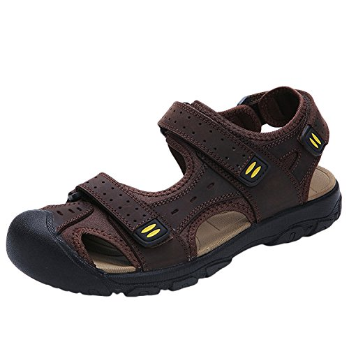 Oasap Men's Genuine Leather Round Toe Flat Velcro Beach Sandals Deep Brown