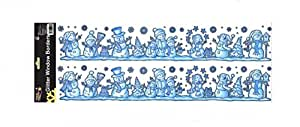 GLITTERY CHRISTMAS WINDOW STICKERS - SNOWMAN AND SNOWFLAKE DESIGN