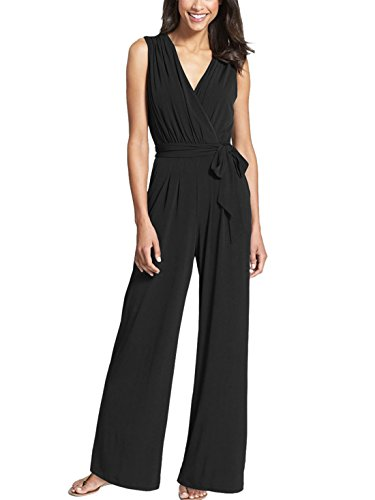 Cotton Wide Leg Capris (Aivtalk Damen Eleganter Jumpsuit Deep V-Neck Ärmellos Weite Hosenbeine Fashion Overall Größe XL - Schwarz)