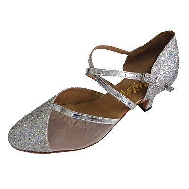 Silence @ Chaussures de danse moderne pour femme Talon Paillettes scintillantes Chaussures de piste de danse Silver