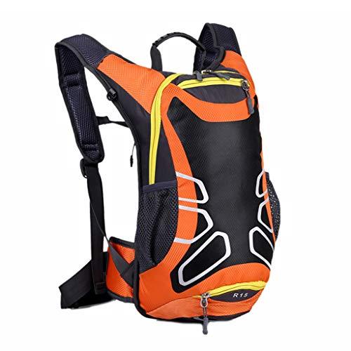 Fafalloagrron 15 Liter Fahrradrucksack mit Helmhalterung, Leichter Ski-Rucksack, kleine Fahrradrucksäcke für Outdoor-Wandern, Skifahren, Trekking, Camping, Orange, 9.45 x 6.3 x 16.14\'\'