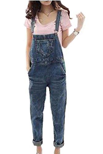 Runyue Damen Lässig Jeans-Latzhose Playsuit Hose Jumpsuits Overalls Gewaschen Denim Hosenanzug Boyfriend Blau M