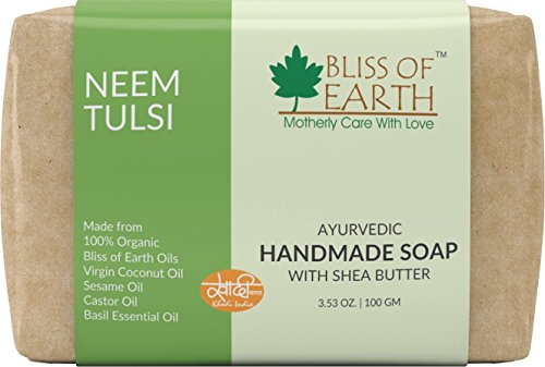 Bliss of Earth™ Neem Tulsi Ayurvedic Handmade Soap With Organic Shea Butter   100GM   Made of Bliss of Earth™ Organic Oils   Extra Virgin Coconut Oil, Castor Oil, Sesame Oil and Basil Essential Oil  Best Cleansing Experience Ever    available at amazon for Rs.125