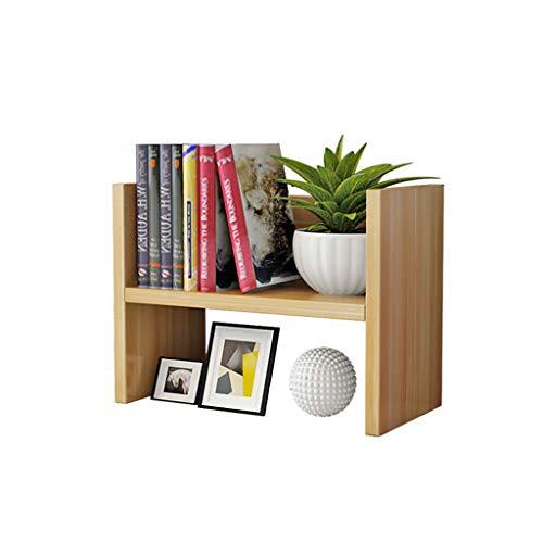 Minmin-zhenggaojia Desktop-Ablageboden, 2 Etagen Holz Desktop-Speicher-Organizer-Display-Regal, Counter-Top-Bücherregal, Küchenregal (Farbe : Holz) -