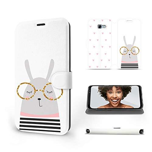 MOBIWEAR | Slim FLIP Case | Kompatibel mit Samsung Galaxy A5 2017, Made in EU handyhülle, Premium Schutzhülle, Transparent TPU Silicon, Book Style Hülle, Tasche - Kaninchen mit Brille
