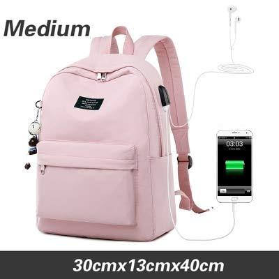 HUAHUA Zaino USB USB Zaino per Laptop con Stampa a Tinta Unita per Ricarica USB Ciondolo per Animali Borse da Scuola per Bambini Borsa da Viaggio Femminile Mochila
