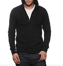 Gritstones Black Sweatshirt with Zipper Hood-ZJKTBLK60108-XL