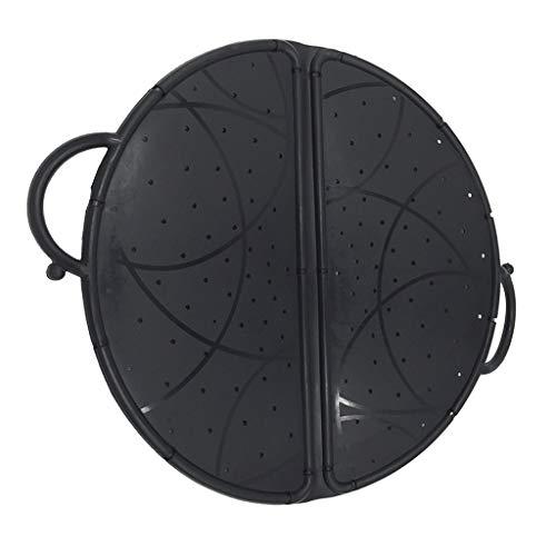 fenteer Black Foldable Colander/Splatter Screen/Silicone Mixer Splash Guard/Mixing Bowl Protector/Kitchen Baking Tool